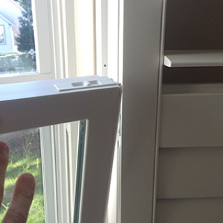 If you are interested in an inside-mount application, the second method is to forgo using a shutter frame and only use the hinge of the shutter applied directly to the window jamb. The shutter will open 180 degrees back to the wall if the hinge is extended out enough to allow the window to be tilted-in.